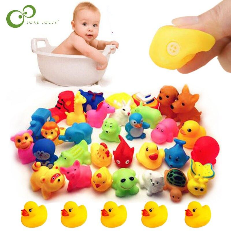 5pcs//set Mini Swimming Rings Rubber Yellow Ducks Cute Floating Baby Bath Toys~MR