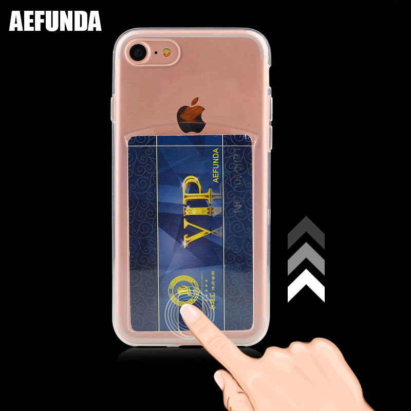 Credit Card Slot Holder Wallet Phone Case For Iphone 7 8 Plus X Xs Max Xr Soft Tpu Silicone Clear Cover For Iphone 6 6s Coque