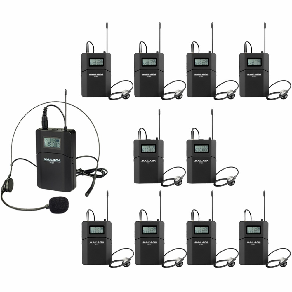 MAILADA WT8 UHF 638-648MHz 1 Transmitter+10 Receivers Wireless Headset Microphone Audio Tour Guide System Simultaneous Teaching dhl shipping atg100 portable mini meeting tourism teach microphone wireless tour guide system 1transmitter 15 receivers charger