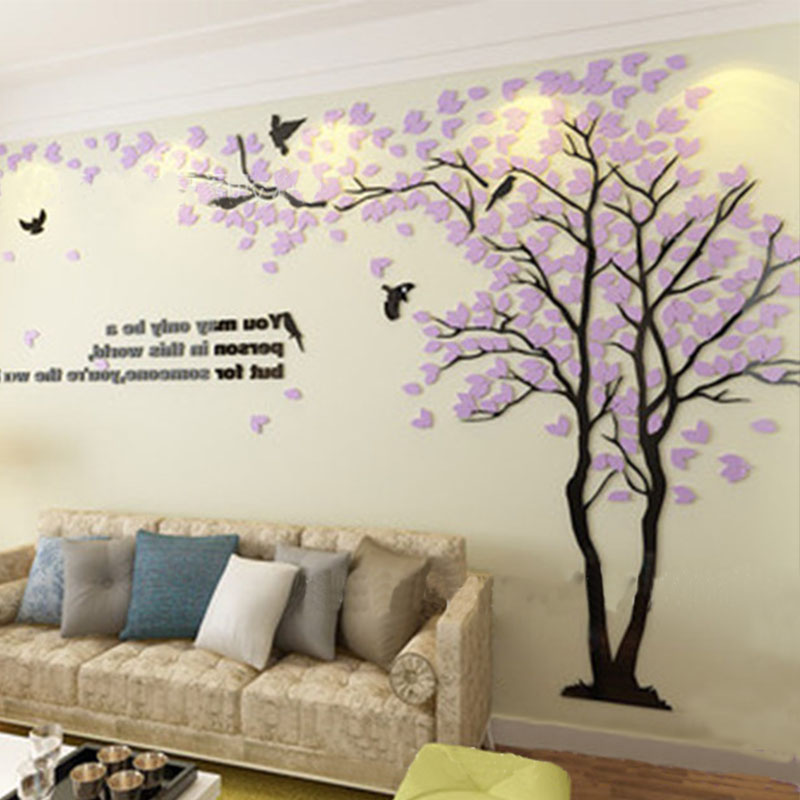 Wall Decor Acrylic Sheet : Aliexpress buy sheet light purple lovers tree