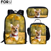 FORUDESIGNS Children School Bags for Girls Boys Welsh Corgi Pembroke Printing Teenager Simple Primary Backpacks Students Satchel