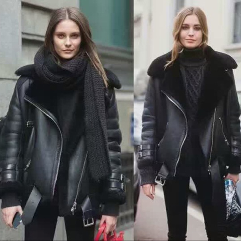 Free Shipping.winter Thick Warm Women Shearling,100% Soft Sheepskin Wool Jacket.fashion Plus Size Lady Genuine Leather Coat.