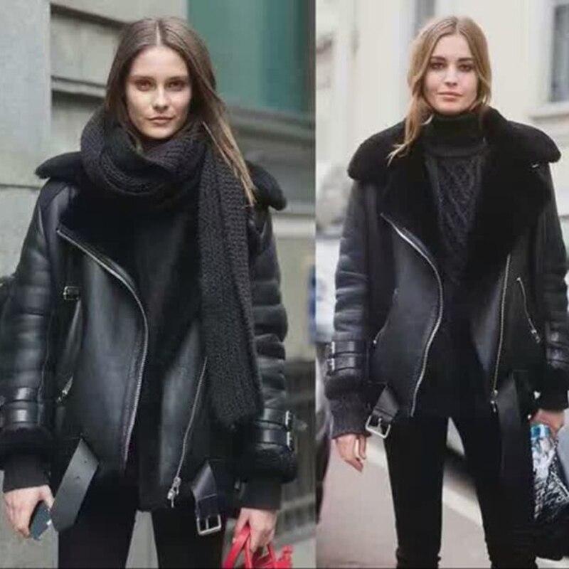 Livraison gratuite. hiver chaud épais femmes en peau de mouton, 100% en peau de mouton doux veste en laine. mode grande taille lady véritable manteau en cuir.