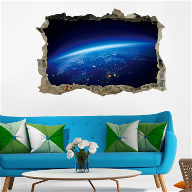 Galaxy Space Planet 3D Wall Sticker Living Room Wall Decals For Kids Baby Nursery Bedroom Wall Stikcer Home Decor Poster Muraux