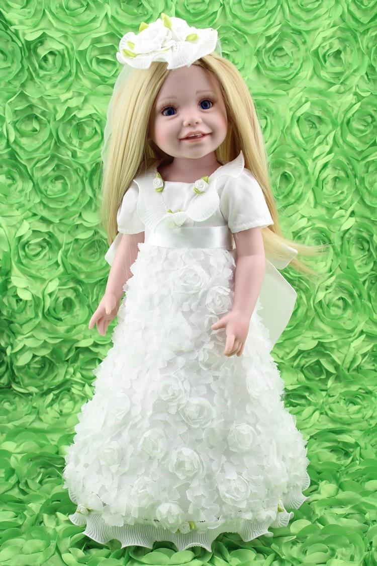NPKDOLL 18 inch American Girl Reborn Baby Doll Bride Wedding Gown White Pure Princess Bridal Dress Beautiful Cute Girls Toys h12094 princess hemline bridal gown white size xl