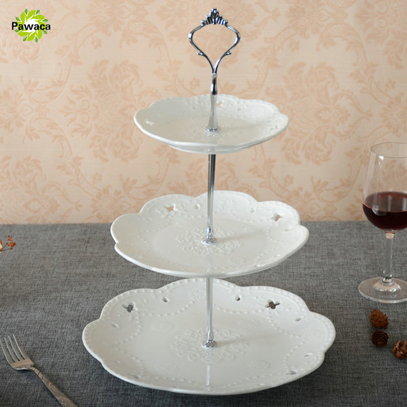 Pawaca New 1 Sets 2 or 3 Tier Cake Plate Stand Handle Crown Fitting Metal Wedding Party Silver/Golden (Plate Not Include)-in Stands from Home u0026 Garden on ... & Pawaca New 1 Sets 2 or 3 Tier Cake Plate Stand Handle Crown Fitting ...