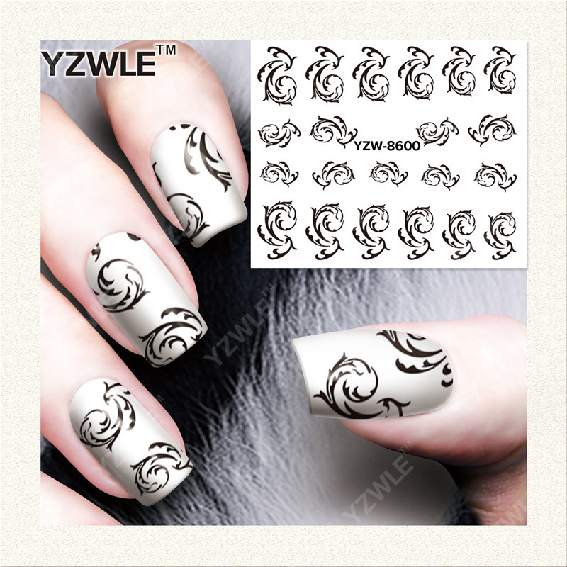 YZWLE  1 Sheet DIY Designer Water Transfer Nails Art Sticker / Nail Water Decals / Nail Stickers Accessories (YZW-8600) yzwle 1 sheet diy designer water transfer nails art sticker nail water decals nail sticker accessories yzw 8196
