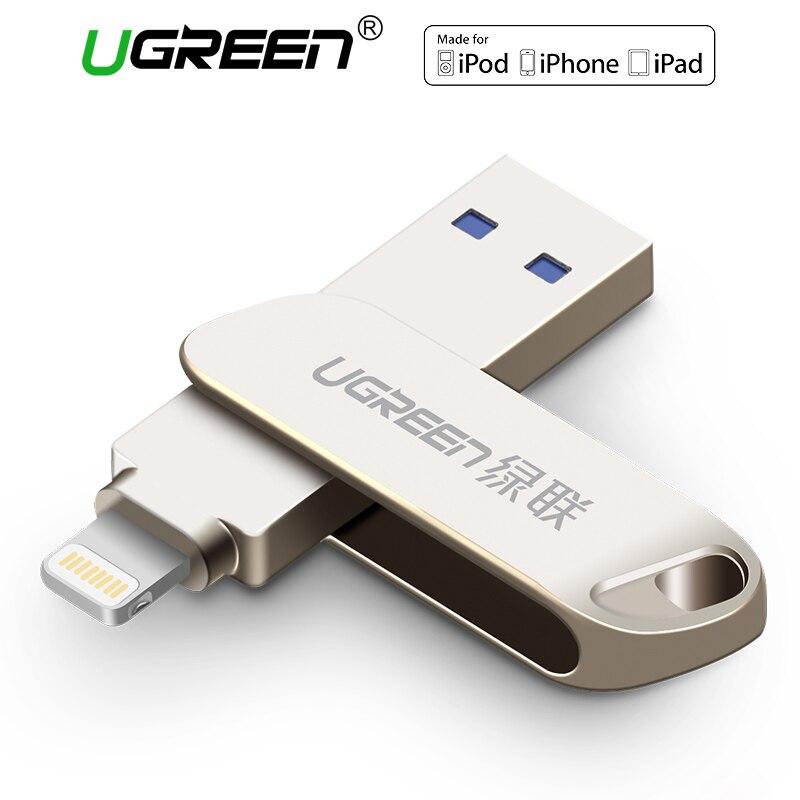 Ugreen USB 3,0 Flash Drive для iPhone 8 7 Plus 32 ГБ 64 ГБ Lightning/металлическая ручка привода U диск для mfi-контроллеров iOS10 memory stick 128 ГБ
