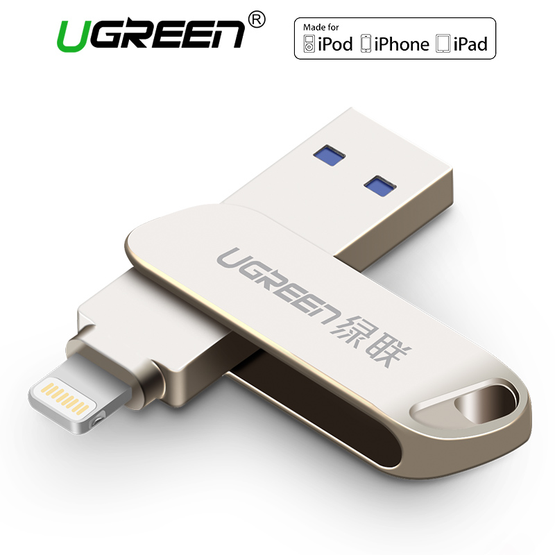все цены на  Ugreen USB 3.0 Flash Drive for iPhone 8 7 Plus 32GB 64GB Lightning to Metal Pen Drive U Disk for MFi iOS10 memory stick 128GB  онлайн