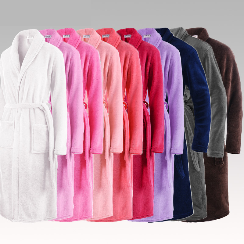 hot selling lovers classic silk soft long bathrobe men kimono bath robe mens flannel warm dressing gown luxury hotel coral robes - Mens Bathrobes