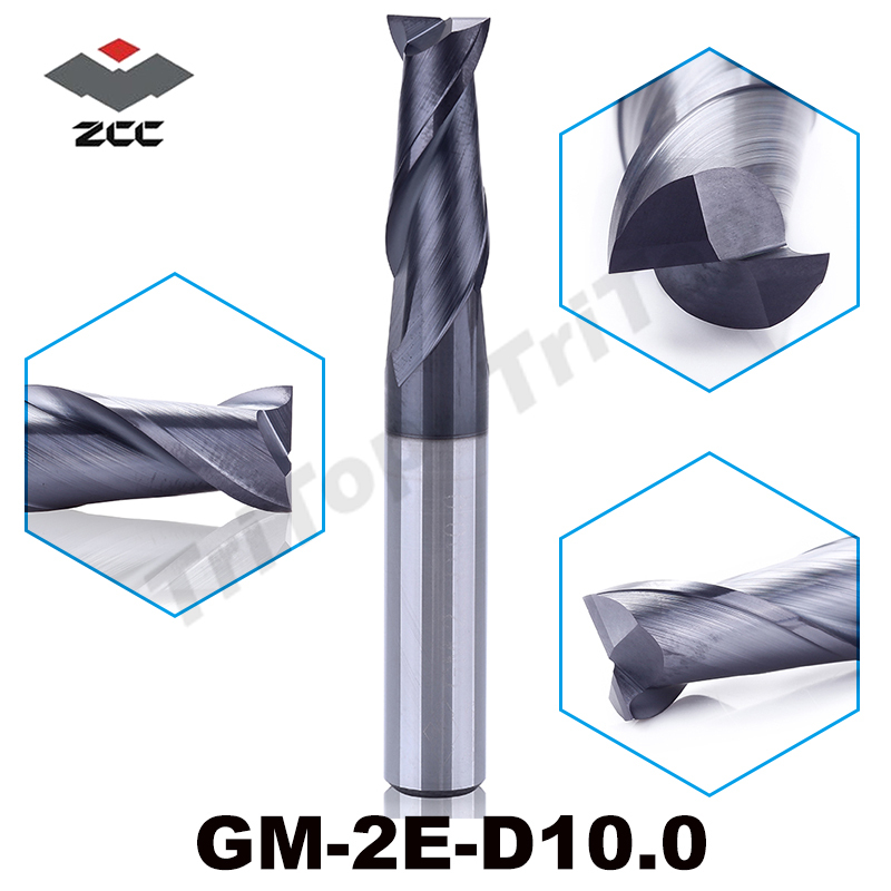 free shipping  ZCC.CT GM-2E-D10.0 tungsten carbide TiAIN coating milling cutter  2 flute flattened end mills with straight shank