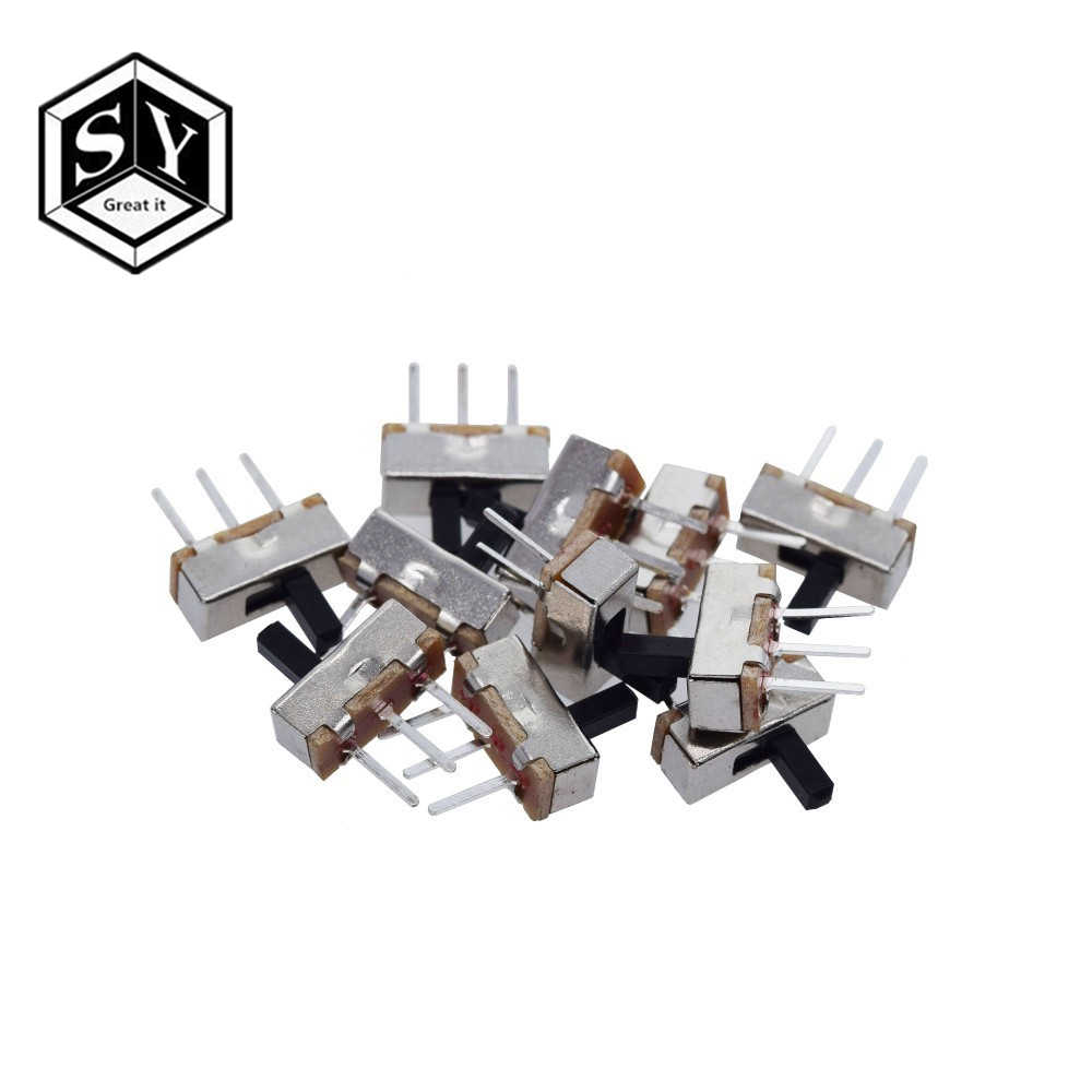 10 Pcs Interruptor On-Off Mini Slide Switch SS12D00 SS12D00G3 3pin 1P2T 2 Posisi High Quality Toggle Switch Handle panjang: 3 Mm