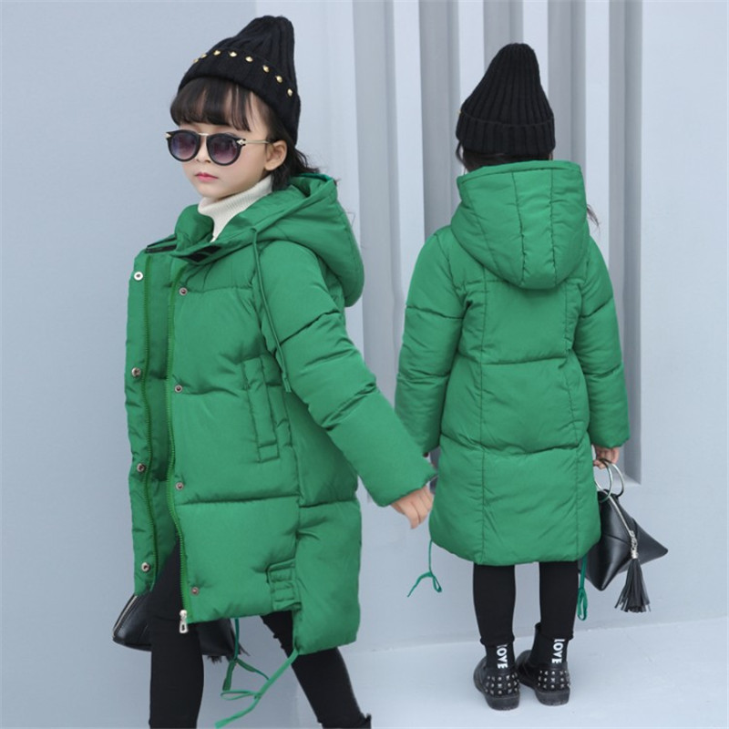 2017 New Winter Jackets Girls Warm Coat Kids Hooded Snow Wear Cotton Padded Down Girls Casual Solid Color Thick Winter Clothes women winter coat leisure big yards hooded fur collar jacket thick warm cotton parkas new style female students overcoat ok238