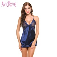 Avidlove Fashion Patchwork Nightshirts Sexy Lingerie Women Sheer Scalloped Satin Chemises Comfortable Slip Sleepwear