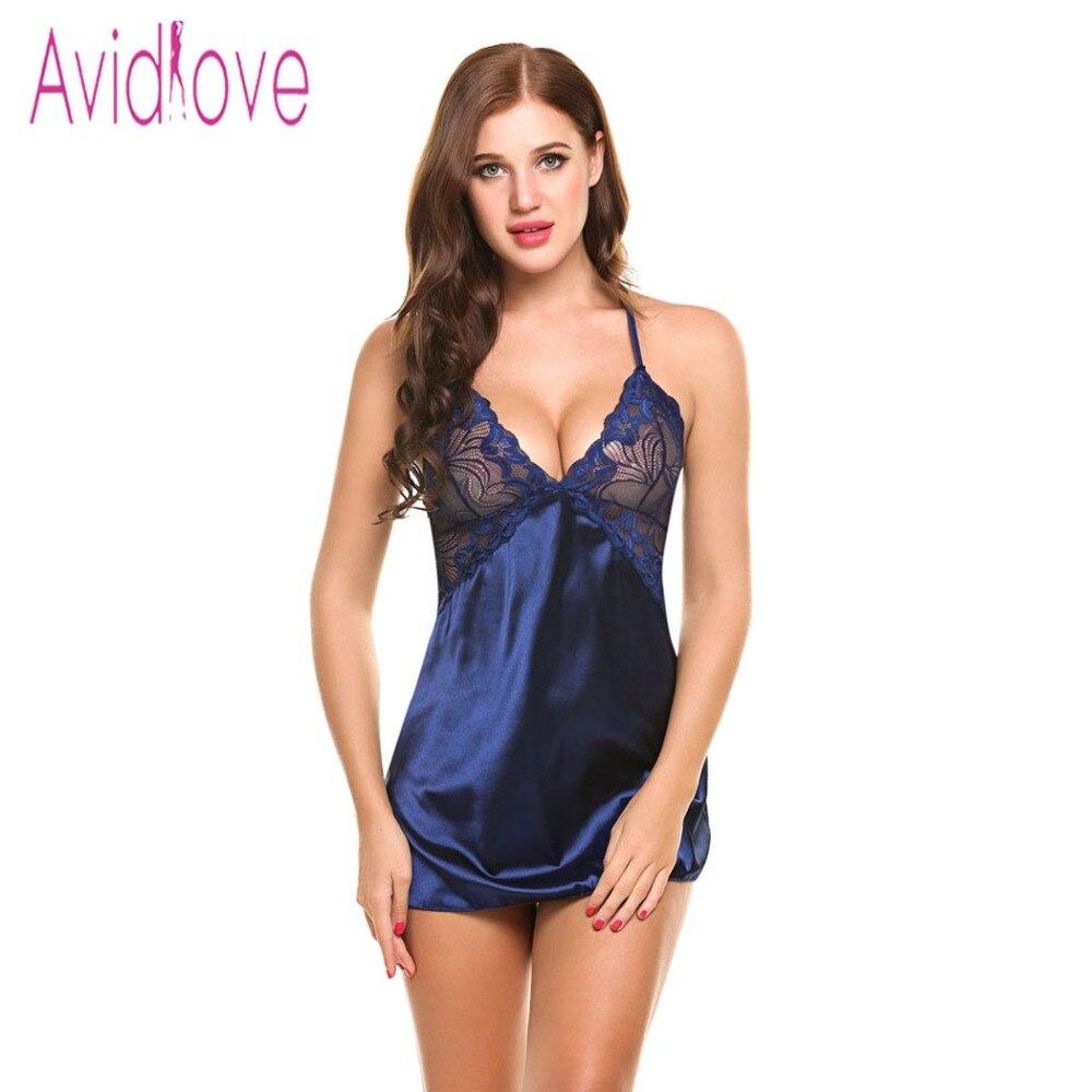 Avidlove Sexy Nightgown Lingerie Fashion Patchwork Nightdress Women Sheer Scalloped Satin Nightwear Silk Slip Sleepwear Chemises