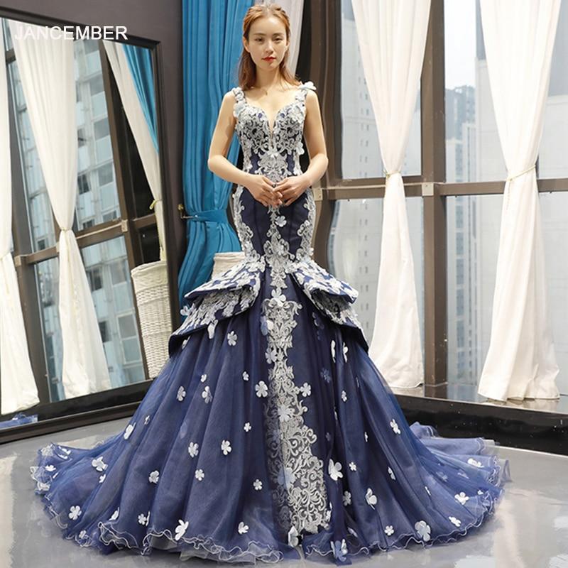 J66711 Jancember Blue Mermaid Evening Dress 2019 Sleeveless V-neck Pattern Evening Gowns With Train голубое платье с узорами