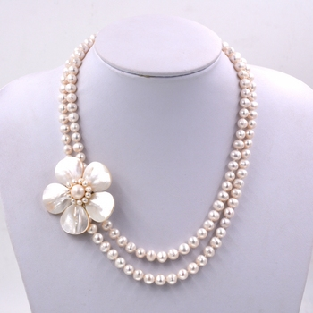 2017 New Arrival Fashion Jewelry Natural white freshwater pearl Nice flower bib necklace  Jewelry Women Gift Party