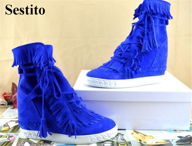 2018 Leisure Solid Fringe Round Toe Casual Flat With Ankle Women Boots Spring/Autumn Basic Flock Comfortable Lace-up Women Shoes women spring autumn peep toe with tassel ankle boots ankle lace up flock fringe women spring autumn peep toe ankle boots