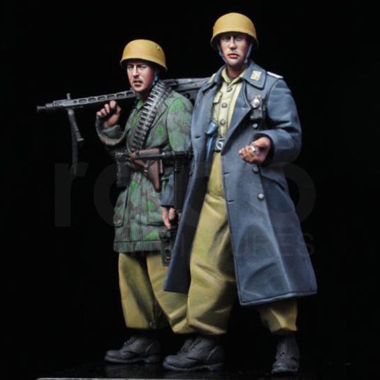 Cassino 2-Figures WWII Unpainted-Kit Soldier Resin Model GK Military Unassembled And
