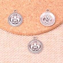 15 pcs Antigo medalha de Prata da flor de lis Encantos pingentes Jóias DIY  15mm b3fe1729ed
