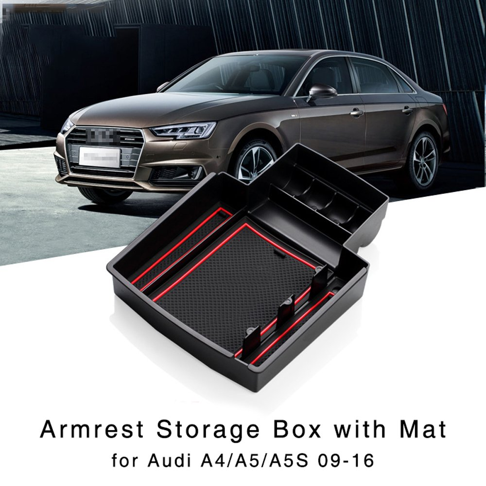 Armrest Storage Box for Audi A4 2011 2012 2013 2014 2015 / A5 2008 2009 2010 2011 2012 2018 Central Console Glove Tray Stowing Tidying     - title=