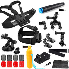 SHOOT Action Camera Accessories kits 19 inch Selfie stick Float Grip Head Chest Strap For gopro 5 4 3 xiaomi yi 4k sjcam eken h9