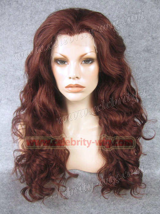 ФОТО Top fashion & best sale long style natural wine red color synthetic lace fornt finger wavy lace wig