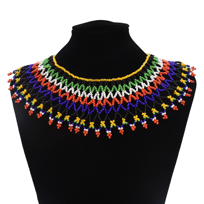 Ethnic Bohemian Style Women Fashion Charm Jewelry Colorful Resin Bead Handmade Long Tassel Statement Link Chain Choker Necklace