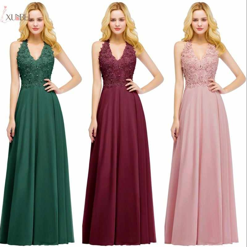 518e243ae750 2019 Chiffon Burgundy Elegant Long Bridesmaid Dresses Applique Wedding  Party Guest Dress robe demoiselle d