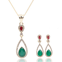 Beautiful Cheap Green Crystal Water Drop Pendant For Women Wedding Bridal Chain jewelry sets