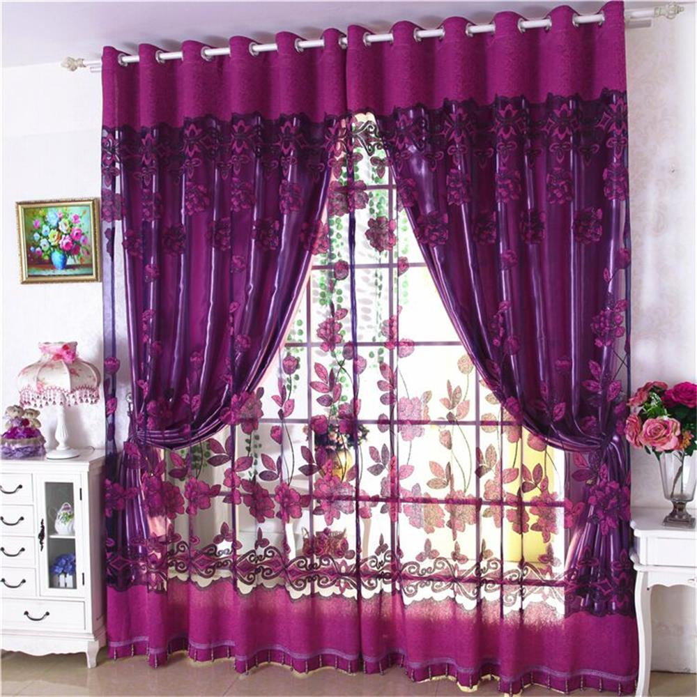 Blackout Curtains Drapes Linen Fabric Tulle Windows-Sheer Bedroom Living-Room Purple title=