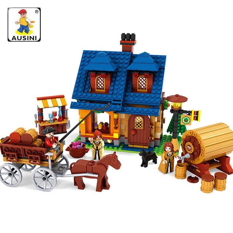 AUSINI 686Pcs Make Wine House Model Building Kits City Farm House Building Blocks Educational Toys Hobbies