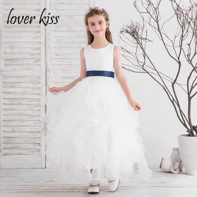 2cb25730eb Lover Kiss Robe Mariage Enfant 2018 Organza Little Big Kids Flower Girls  Dresses White Prom Gowns Ruffles Holy Communion Dress