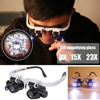 цена на 8x 15x 23x Magnifying Glass With 2 LED Light Head Wearing Magnifier Double Eye Jeweler Watch Clock Repair Loupe Microscope
