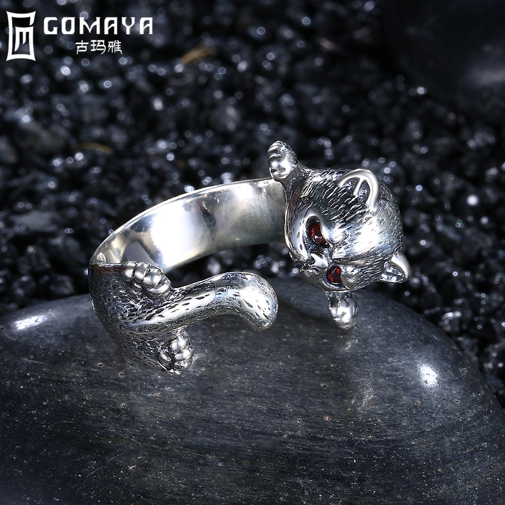 GOMAYA 925 Sterling Silver Leopard Ring Handmade Vintage Boho Punk Fine Jewelry Cute Animal Wrap Rings
