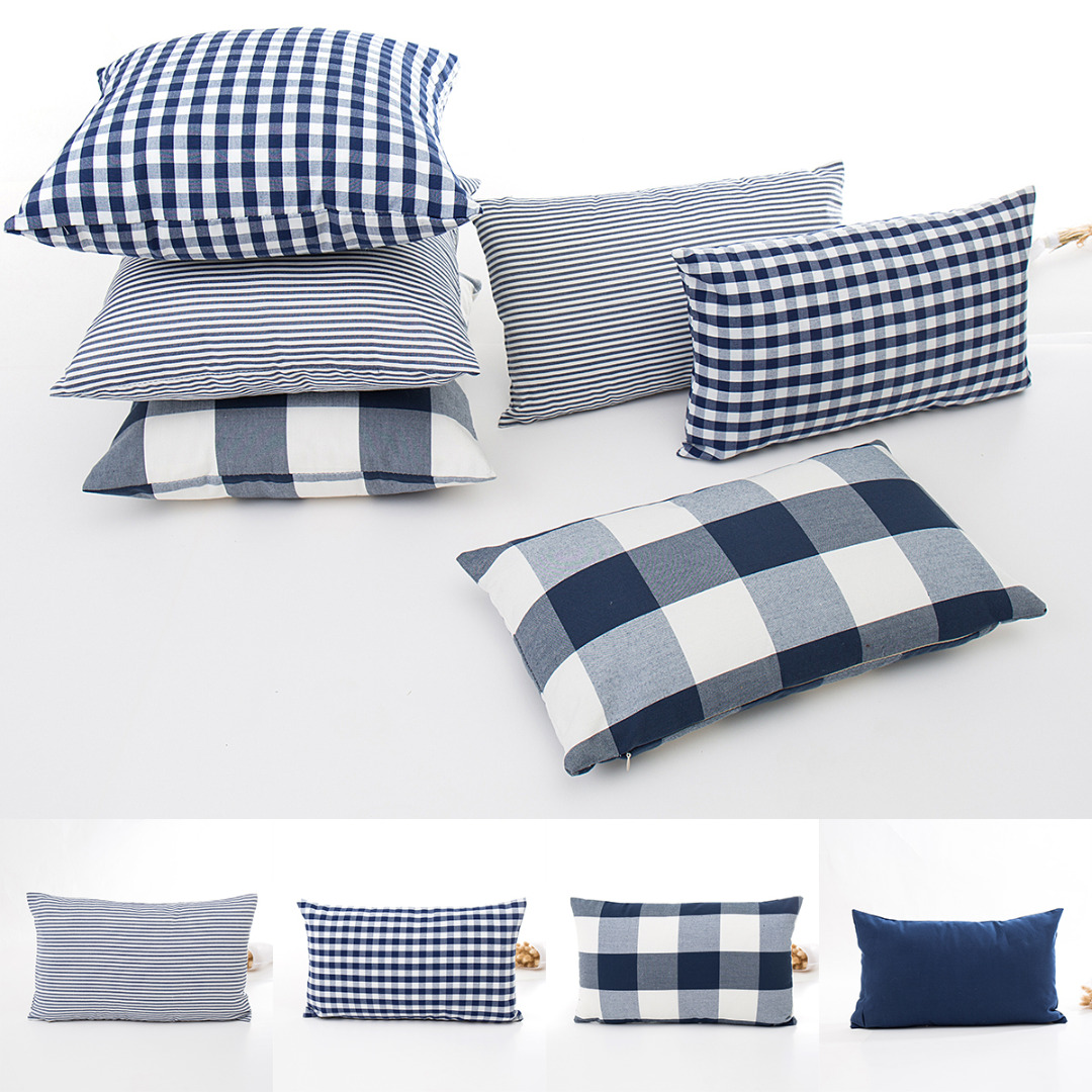 Remarkable Simple Stripe Plaid Pillow Case Throw Pillowcase Blue White Series Rectangle Cushion Cover For Home Sofa Decoration Pillow Cover Ibusinesslaw Wood Chair Design Ideas Ibusinesslaworg