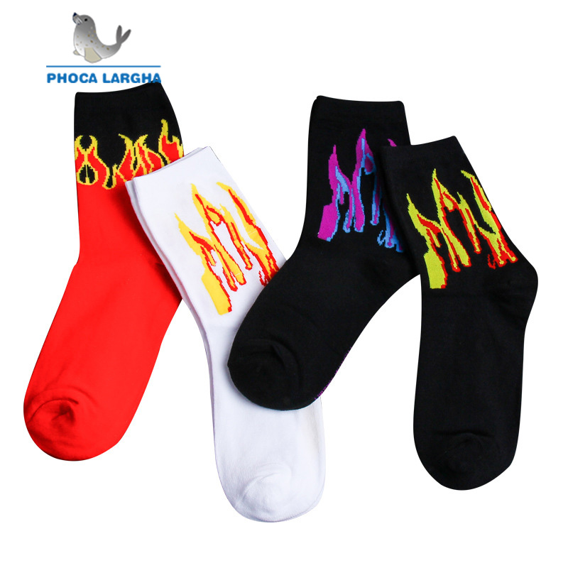 Men's Socks Hip Hop Hit Color Crew Socks Flame Marble Stripe Jacquard Business Sokken Warm Street Skateboard Cotton Long Socks