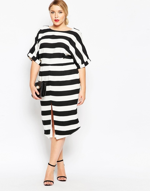 3XL-6XL plus size business dress woman casual loose stripe dress with split  in front sexy hollow out back design 052 f7c871a080bb