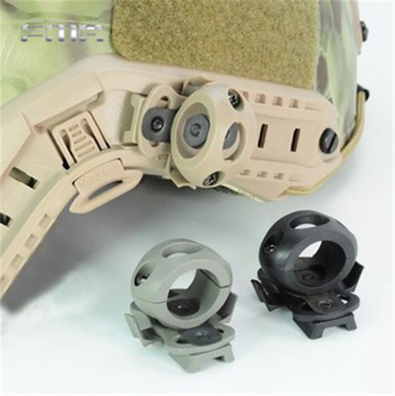 FMA Helmet Clamp Flashlight Adapter 21mm 25.4mm for Fast Helmet Airsoft Tactical Hunting Cycling Camera Torch Holder