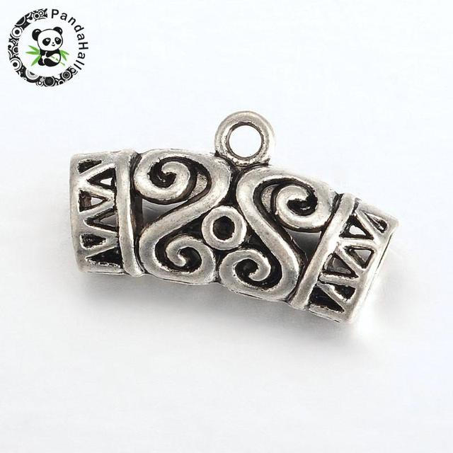Diy tibetan style pendant clasp necklace connector bail beads curved diy tibetan style pendant clasp necklace connector bail beads curved hollow with flower pattern antique silver aloadofball Images