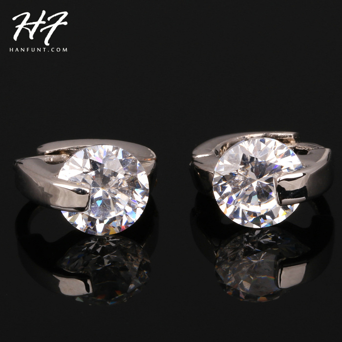 Hot Sale Unique Chic AAA+ Cubic Zircon Stud Earrings Silver Color CZ Crystal Fashion Party/Wedding Jewelry For Women E721