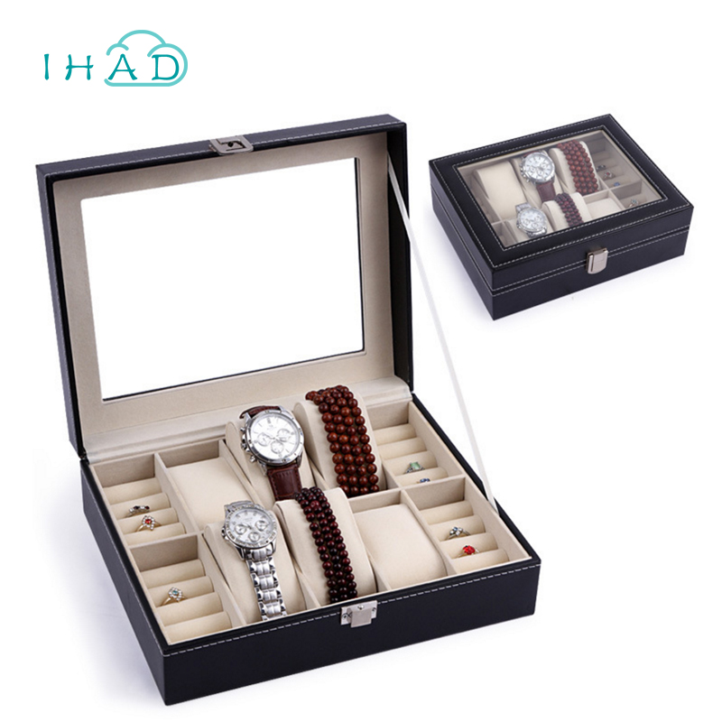 Multi-function jewelry box Organizer Cosmetic jewelry Transparent glass display watchs Storage box Casket Container