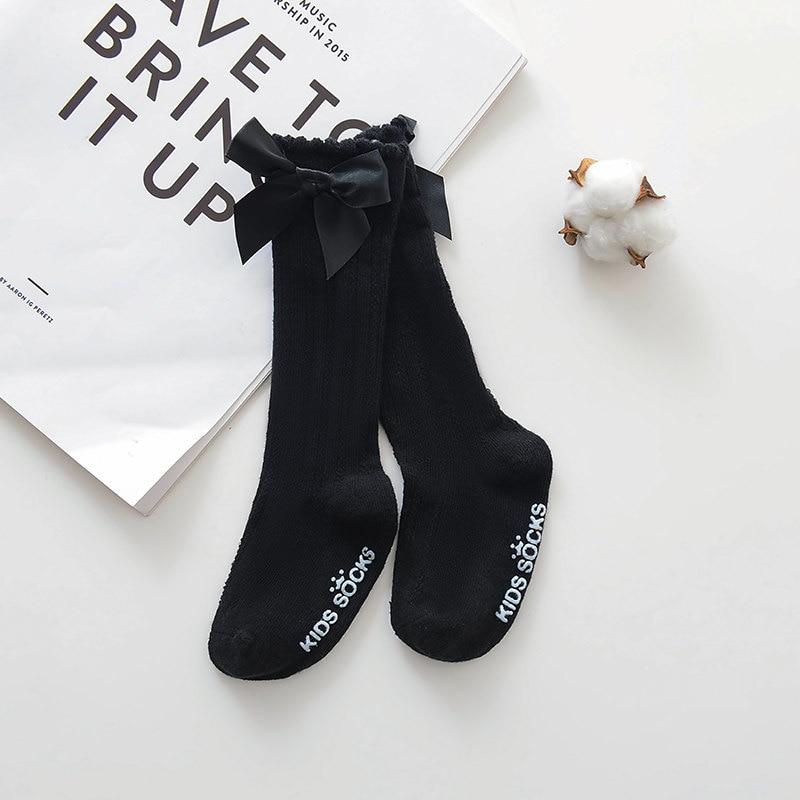 Новые детские носки гольфы с большим бантом для маленьких девочек, мягкие хлопковые кружевные детские носки kniekousen meisje, Прямая поставка#30 - Цвет: bowknot black