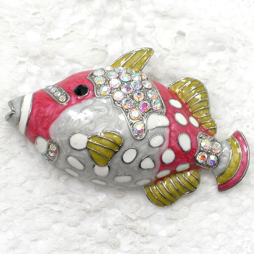 12pcs/lot Wholesale Fish Enamel Rhinestone Pin brooches C101985-in Brooches from Jewelry & Accessories    1