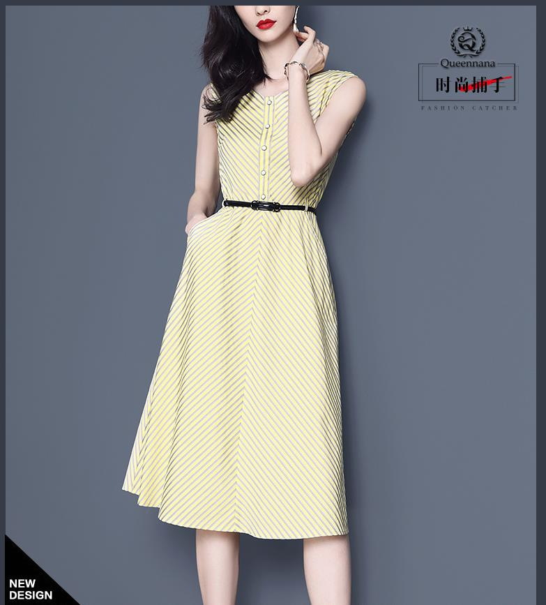The New Summer 2019 V-neck Sleeveless Shift Dress Has A High-waisted Stripe A-line Skirt