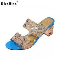 RizaBina 5 Colors Women Summer High Heel Sandals Beading Flower Butterfly Open Toe Gold Heel Slippers