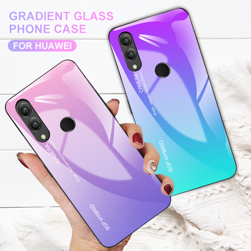Aurora Gradient Color Tempered Glass Case For Huawei P20 Lite P20 Pro Touch Cover For Huawei Mate 10 20 Lite Nova 3 3I P Smart