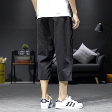 Safari Style Calf-Length Pants Multi-Pockets Solid Color Mens Elastic Waist Large Size Black Gray