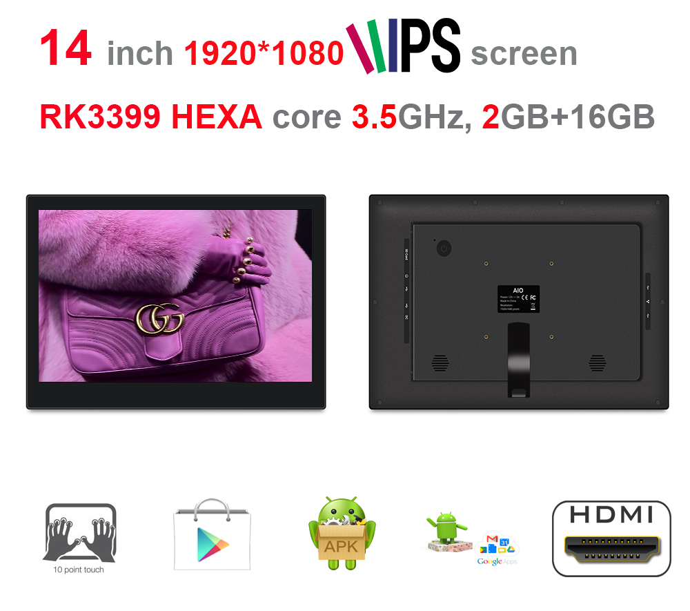 14 Inch HEXA Core Android Touch KIOSK / POS Screen All In One Pc (RK3399, 3.5GHz, 2GB DDR3, 16GB Nand,Android7.1,2.4G/5G Wifi)