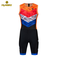 YKYWBIKE 2019 Cycling Skinsuit Triathlon Suit Back Zipper High Quality Sleeveless Cycling Jersey Set Power Band Bike Kit Custom